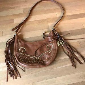Michael Kors Rhea Studded Fringe boho slouchy Bag